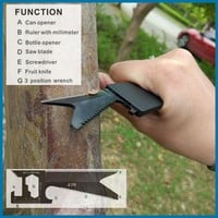 bushcraft multi tool outdoor EDC keychain carabiner gear pocket fishing hunting knife Survival kit camping equipment