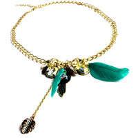 """""""Birds Of A Feather"""" Gold Chain Necklace With Assorted Pendants"""