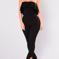 Black Off Shoulder Draped Backless Ruffle Vintage One Piece Long Jumpsuit