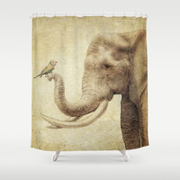 A New Friend (sepia drawing) Shower Curtain by Eric Fan