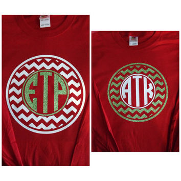 SHORT SLEEVE Circle Chevron Monogram T-Shirt Womens Vinyl