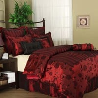 7 PIece Queen Embroidered Burgundy with touch of Black Comforter Set Bed-in-a-bag