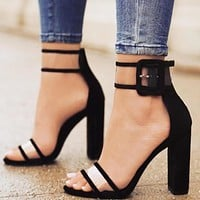 New fashionable large-sized, thick-heeled, buckled, sexy women's high-heeled sandals