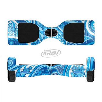 The Vibrant Blue Paisley Design Full-Body Skin Set for the Smart Drifting SuperCharged iiRov HoverBoard