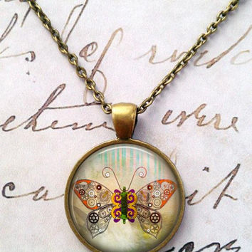 Butterfly Necklace, Steampunk, Gears and Cogs, Machines, Geek Chic, Burning Man T44
