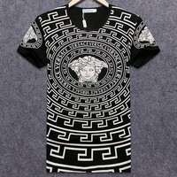 Versace 2018 summer men's round neck sports casual short-sleeved T-shirt black