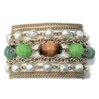 Arthur Pepper (ART) Multi Strand Bracelet In Gold Tone, Faux Pearl, Acrylic And Wood Beads, Chain