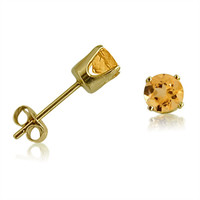 14K Yellow Gold Round Citrine Stud Earrings (4 mm )