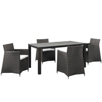 Junction 5 Piece Outdoor Patio Dining Set Brown White EEI-1746-BRN-WHI-SET