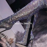 Crystal Slim Thigh High Heel Long Boots