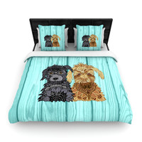 """Art Love Passion """"Daisy and Gatsby"""" Abstract Puppies Woven Duvet Cover"""