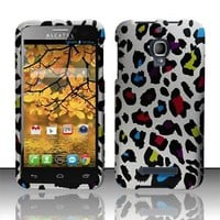 Phone Case Alcatel One Touch Fierce Colorful Leopard Rubberized Cover Protector