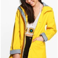 Megan Rubberised Rain Mac | Boohoo