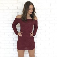 Sparkle In The Night Wine Dress