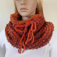 Chunky cowl - neck warmer - infinity scarf -  hand knit in coral wool blend  - unique winter fashion