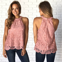 Bella Pink Lace Sleeveless Top