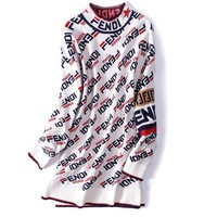 FENDI Fashionm Women Jacquard Half High Collar Knit Sweater Pullover Top Sweatshirt