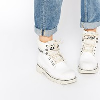 Caterpillar Colorado Burnish Brights Off White Leather Ankle Boots