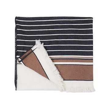 S. Harris Boogie Stripe Cashmere Throw Blanket in Camelino