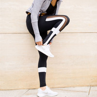 Black And White Patchwork Leggings Women Mesh Splice Pants Legging Plus Size Sporting Fitness Styles Elastic Workout Trousers