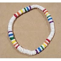 White Clam Shell Stretchy Bracelet with Rainbow Beads