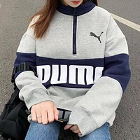 PUMA New fashion letter print contrast color long sleeve top sweater sweatshirt