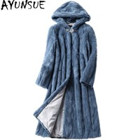 AYUNSUE Mink Coat Luxury Real Fur Coat Female 2018 Pieces Natural Mink Fur Coats Long Winter Jacket Women Warm Outerwear WYQ1936