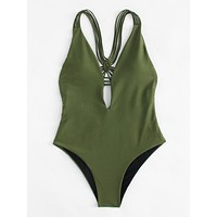 Making An Impact Swimsuit - Army Green