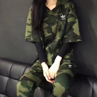 Adidas Fashion Knitting Long-sleeves Camouflage Hooded Pullover Pants Leisure Sportswear Two pieces Set
