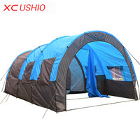 Big Double Layer Tunnel Tent 5-10 Person Outdoor Camping for Family