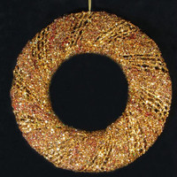 "Artificial Christmas Wreath - 24 ""  - Gold Iridescent Glitter"