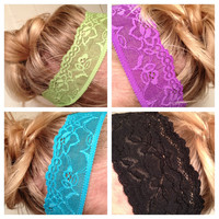 One Soft Wide Stretch Lace Headbands Hair Neon by emmaflhair