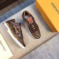 LV Louis Vuitton Men's Leather Trainer Low Top Sneakers Shoes