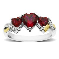 Sterling Silver and 14k Yellow Gold Diamond and Heart-Shaped Created Ruby Ring (0.0 1 cttw, I-J Color, I3 Clarity), Size 9