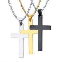 Necklace Men's Fashion Cross Necklaces Pendant for Men Fine Stainless Steel Jewelry 3 Color Black Gold-color Silver Color 316L