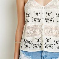 Crochet-Paneled Embroidery Cami