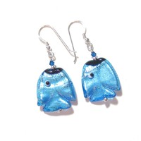 Murano Glass Fish Aqua Sterling Silver Earrings, Fishhook Earrings