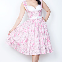 Beatrice Pin Up Dress in Pink Poodle Print