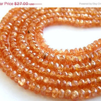 51% Off Clearance Sale Sunstone Gemstone Rondelle Champagne Peach Faceted 3 to 4mm 80 beads