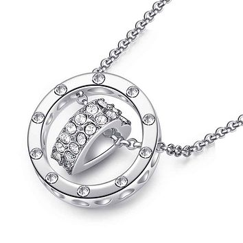 Heart Pendant Necklace Cubic Zirconia & Gold Plated
