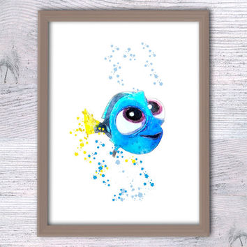 Baby Dory Finding Dory Poster, Dory watercolor, Nautical print Nursery décor Dory Fish Finding Nemo Watercolor Little Dory illustration V107