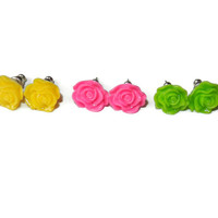 Bright, Neon Yellow, Pink and Green Rose Resin Post Earrings, Set of Three