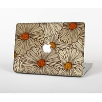 The Tan & Orange Tipped Flowers Pattern Skin Set for the Apple MacBook Pro 13""