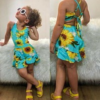 Toddler Kids Baby Girl Clothes Summer Sunflower Romper Jumpsuit Bodysuit Outfits