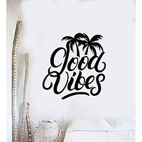 Vinyl Wall Decal Inspiring Phrase Good Vibes Positive Home Decor Stickers Mural (g1479)