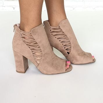 Under Control Open Toe Booties In Taupe