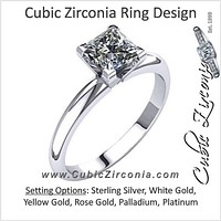 Cubic Zirconia Engagement Ring- The Emmy (Princess Cut Solitaire with V-End Prongs)