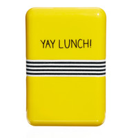 Happy Jackson Yay Lunch Yellow & Blue Hard Plastic Rectangular Lunch Box