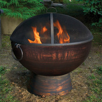"26"" Wrought Iron Fire Bowl with Spark Screen"