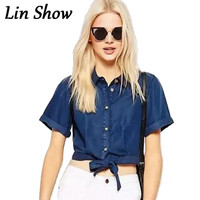 Women Crop Blouses Denim Button Solid Navy Loose Ladies Shirts Summer Fashion Sexy Short Sleeve Lapel Jean Female Tops